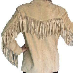 Vintage western fringe tan suede jacket size L